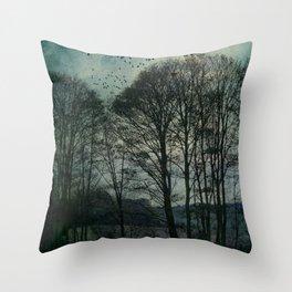 Textured Trees Throw Pillow