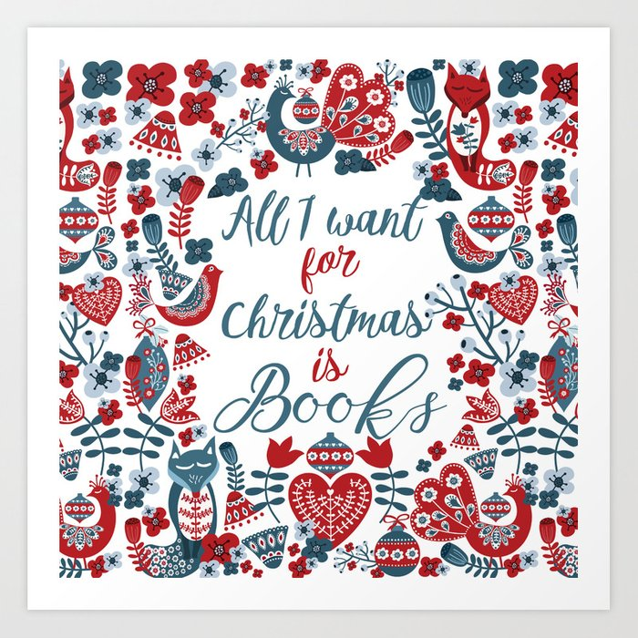Christmas Books Art Print