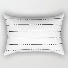 Simple modern black white hand painted stripes dots pattern Rectangular Pillow