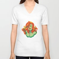 poison ivy V-neck T-shirts featuring Poison Ivy by Piano Bandit