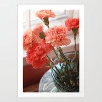 Peach Carnations Art Print