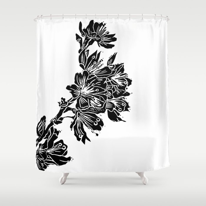 Cherry Blossom Block Print Shower Curtain