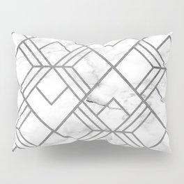 Geometrical white gray faux silver marble Pillow Sham