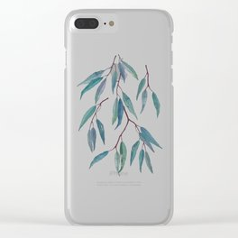 Eucalyptus leaves on indigo blue Clear iPhone Case