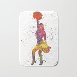 young woman Cheerleader Art Girl Poms Dance in watercolor 09 Bath Mat