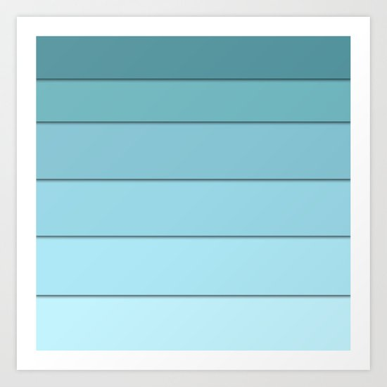 Colorful geometric striped pattern in shades of blue . Art Print