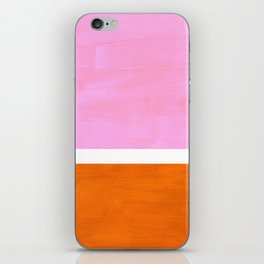 Pastel Neon Pink Yellow Ochre Mid Century Modern Abstract Minimalist Rothko Color Field Squares iPhone Skin