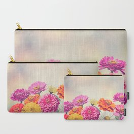 Colorful Blossom of Zinnia flowers Carry-All Pouch