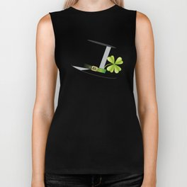 Hat with shamrock Biker Tank