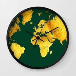Forest Green and Gold Map of The World - World Map for your walls Wall Clock