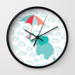 Elephant with umbrella , nursery decor , Wall Clock
