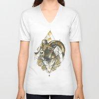 ram V-neck T-shirts featuring ram by rosanna corfe