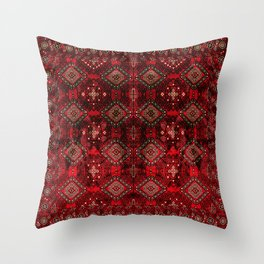 N129 - Epic Royal Red Oriental Traditional Moroccan Style Fabric Design  Throw Pillow