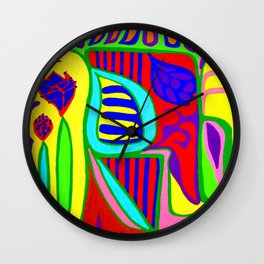 Abstract flower and shapes Wall Clock