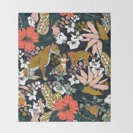 Animal print dark jungle Throw Blanket