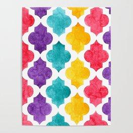 Colorful quatrefoil pattern in watercolor Poster