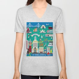 Oakland, California - Collage Illustration by Loose Petals Unisex V-Neck
