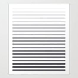 Gray and White Ombre Stripes Art Print