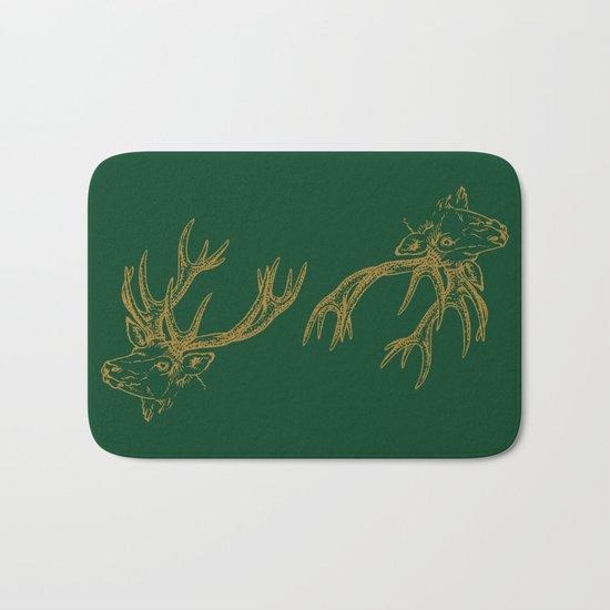 Deer Green Gold Bath Mat