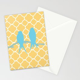 Modern trendy orange blue birds quatrefoil pattern Stationery Cards