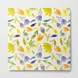Playful Garden Party Colorful, Vibrant Contemporary Pattern Metal Print