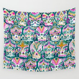 CARPE DIEM SKULLS - EMERALD Wall Tapestry