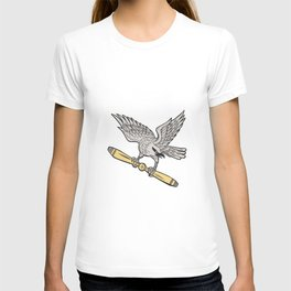 Shrike Clutching Propeller Blade Retro T-shirt