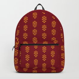 Minimalist Abstract Decorative Textured Pine Cone Festive Winter Pattern, Gold and Red Color Backpack