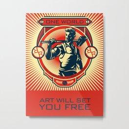 Rubino One World Red Metal Print