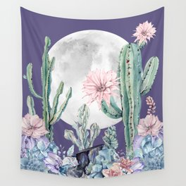 Desert Cactus Full Moon Succulent Garden on Purple Wall Tapestry