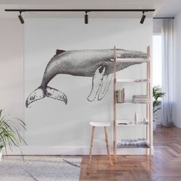Humpback whale black and white ink ocean decor Wall Mural