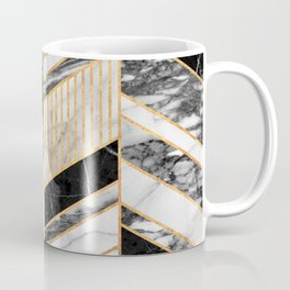 Abstract Chevron Pattern - Black and White Marble Kaffeebecher