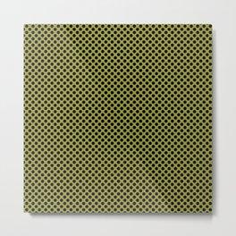 Golden Lime and Black Polka Dots Metal Print