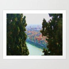 Edifici Colorati Vicino al Fiume. Art Print