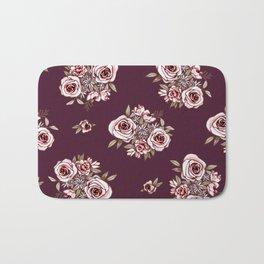 Burgundy Flower Pattern with Pink Flowers Bath Mat