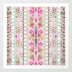 Pink Floral White Abstract Aztec Triangle Pattern Art Print