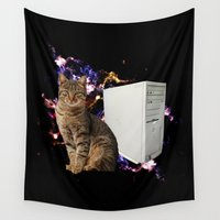 computer Wall Tapestries featuring Space Cat with Computer 1 by fifteenexes