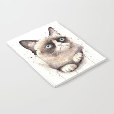 Grumpy Watercolor Cat Animals Meme Geek Art Notebook