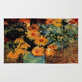 Van Gogh, vase– Van Gogh,Vincent Van Gogh,impressionist,post-impressionism,brushwork,painting Rug