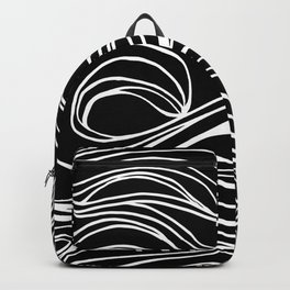 Abstract Swirling Waves / Black and White Backpack