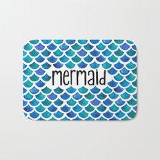 Mermaid Scales in Blue Bath Mat