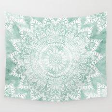 BOHEMIAN FLOWER MANDALA IN TEAL Wall Tapestry
