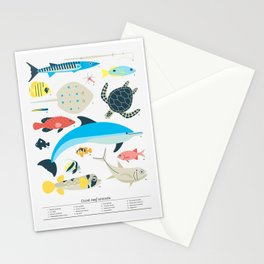 Coral reef animals Stationery Cards