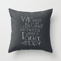 "dumbledore Throw Pillows featuring Harry Potter - Albus Dumbledore quote ""We must all face the choice..."" by SimpleSerene"