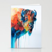bison Stationery Cards featuring Bison by Slaveika Aladjova