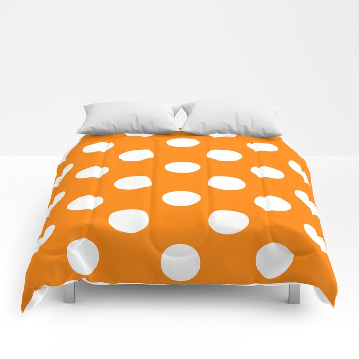 Polka Dots (White/Orange) Comforters