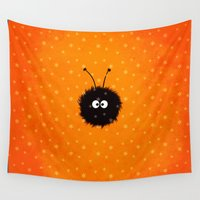 bug Wall Tapestries featuring Orange Cute Dazzled Bug Winter by Boriana Giormova