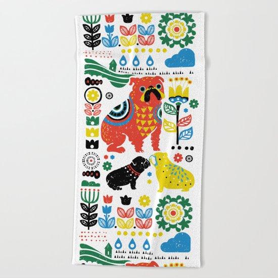 Scandinavian English Bulldog Beach Towel
