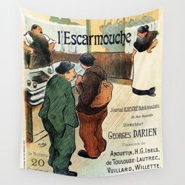 L'Escarmouche Vintage French bar scene Wall Tapestry