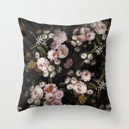 Antique Botanical Roses And  Chamomile Midnight Garden Throw Pillow
